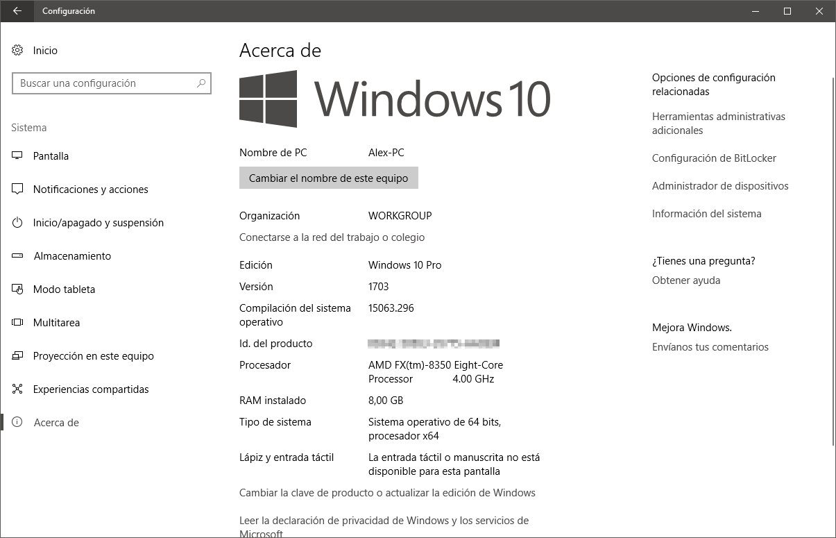 Panel de Configuración de Windows 10