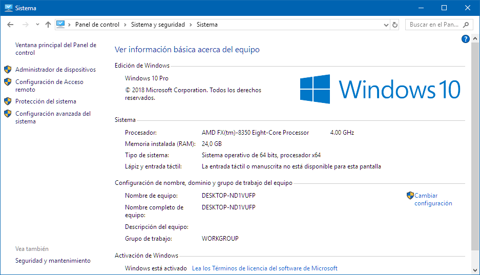 Información sistema windows 10
