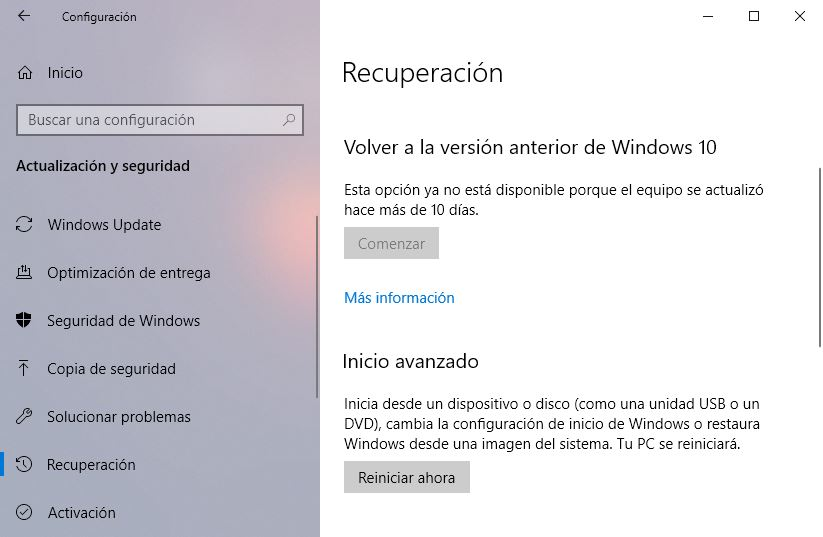 Recuperación Windows 10
