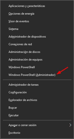 Abrir Windows PowerShell con el atajo WIN+X