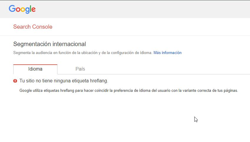 Segmentación internacional en Google Search Console