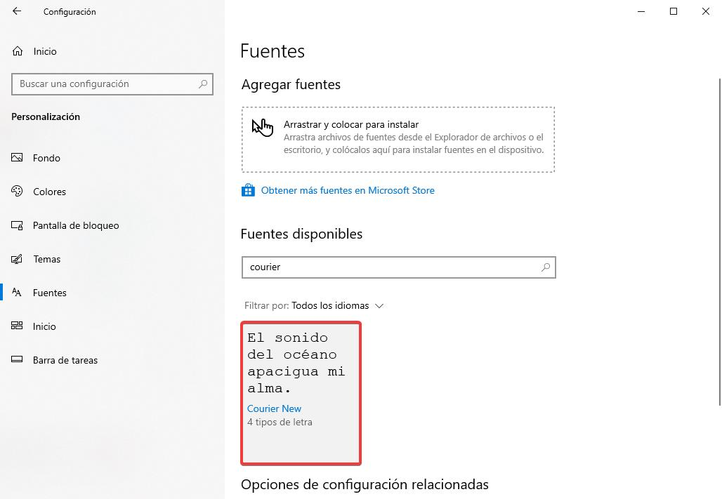 fuentes en windows 10