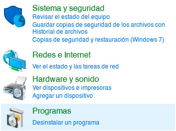 desinstalar programas en windows