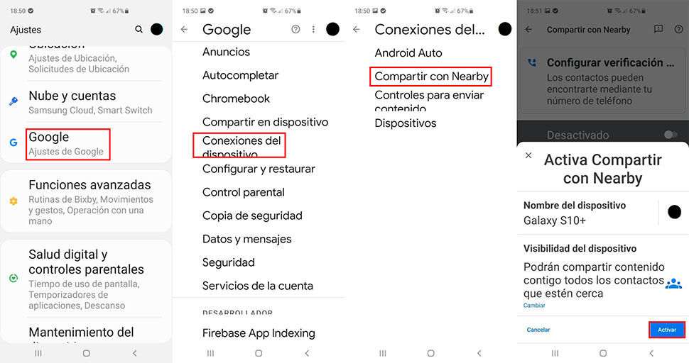 activar nearby share android